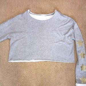 Honey Punch cropped sweatshirt with gold stars Sm